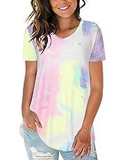 CNFIO Dames T-shirts zomer korte mouwen tops casual bovenstuk V-hals kleurstof binden shirt blouses