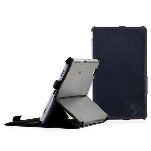 Manna UltraSlim Samsung Galaxy TabPRO 8.4 SM-T325 LTE SM-T320 WiFi - Hülle, Case, aufstellbare Tasche aus schwarzem Kunstleder mit Farbiger Naht, Schutzhülle für TabPRO 8.4 mit Autosleep - Funktion