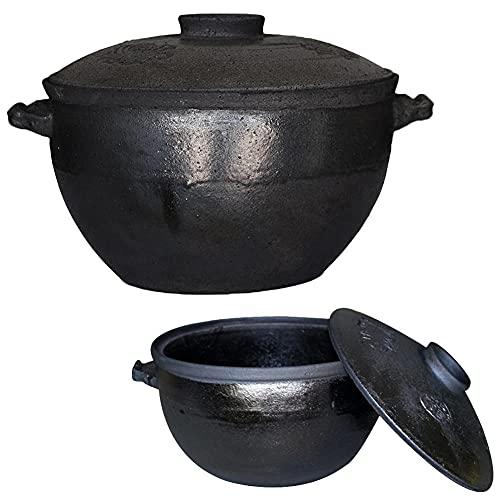 3.8 L Cazuelas Horno con Tapa,Negro Olla Ceramica Ø 25.5cmCazuelas Arroz para Todas Las Estufas