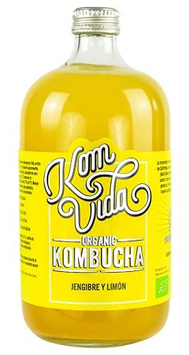 Té kombucha. Komvida. Kit sabor Jengibre y limón. 6 botellas de 750 ml. Envío en frío.