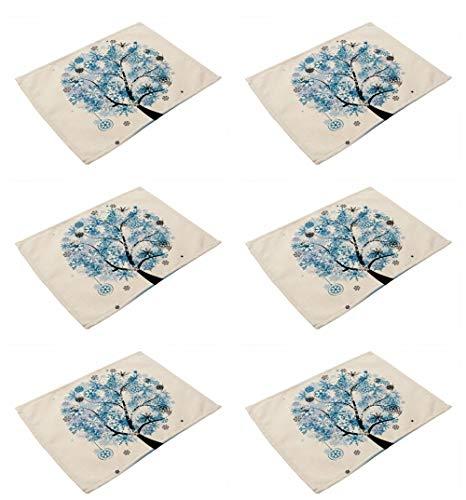 Juego de 6 manteles individuales de algodón y lino para mesa de comedor, diseño moderno de árbol de la vida, lavables, ecológicos, resistentes al calor, antideslizantes, para decoración moderna del hogar, cocina, comedor