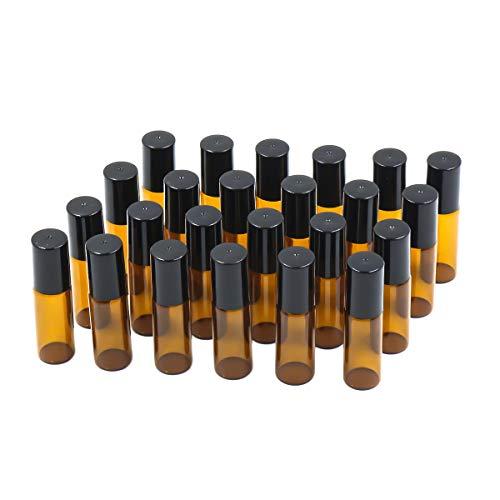 E-Greetbuy - Botellas de Cristal Vacías de 5 ML con Bolas de Acero Inoxidable y Tapa, 24 Unidades