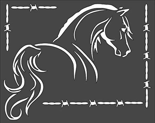 1- 8x10 inch Custom Cut Credence Stencil Wire Barb Arts NA-53 an Bargain Horse