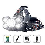 Arzopa Lampade da Testa LED USB Ricaricabile, Lampada Frontale 10000 Lumens e 4 Modalità,...