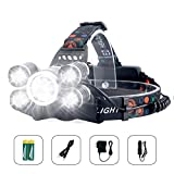 Arzopa Linterna Frontal Recargable LED Alta Potencia 10000 Lúmenes, Luz de Cabeza Impermeable Super Brillante con 4 Modos para Casco, Pesca,Senderismo, Bicicleta, Camping y Caza