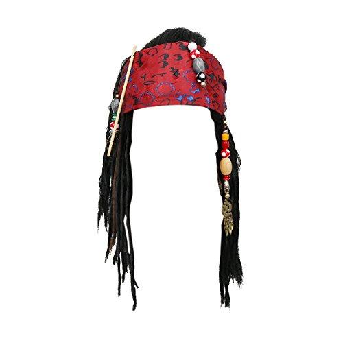 Pirates Wigs Bandana Dreadlock DLX Jack Sparrow Halloween, Black, Size One Size