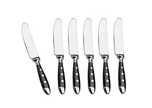 Kerafactum® - 6 cuchillos de menú con filo de sierra, cuchillo de menú con 3 remaches, cuchillo de mesa, cuchillo de carne, cuchillo de sierra con mangos negros. El juego de diseño es ampliable.