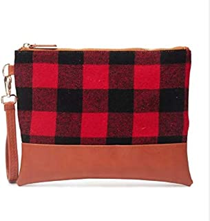 Women Buffalo Plaid Makeup Bag with Wrist Strap Portable Day Clutch Bags Deer Printing Makeup Cases for Christmas Gifts (Red Black)