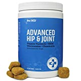 Pet MD Glucosamine for Dogs - Joint Supplement for Dogs with Glucosamine, Chondroitin, MSM, Turmeric, & Yucca - Delicious Bacon Flavored Dog Hip and Joint Supplement- 120 Ct