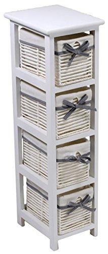 Mobile cassettiera Hilary stretta bianca in legno 4 cassetti in cordoncino foderati bianco con fiocco grigio comodino contenitore a torre per camera corridoio salotto cucina bagno ripostiglio