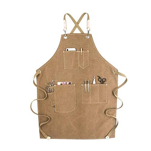 Rcevbocc - Delantal de chef con 6 bolsillos para mujer, adolescente, tela vaquera, lona cruzada, ajustable