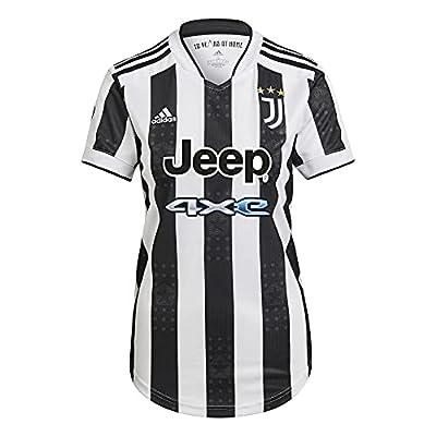 adidas Women's Juventus 2021-22 Home Soccer Jersey (White/Black, Small)