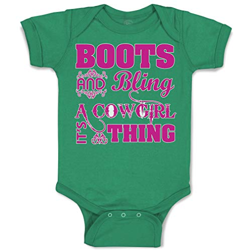 Custom Baby Bodysuit Boots and Bling Cowgirl Thing Western Funny Cotton Boy & Girl Baby Clothes Kelly Green Design Only Newborn
