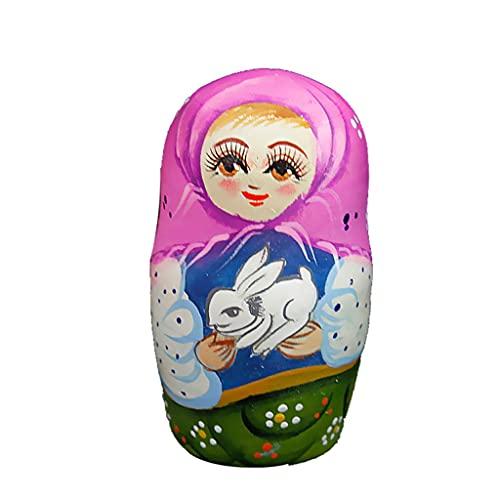 Muñecas rusas de anidación 7 piezas de muñecas rusas regalo de cumpleaños creativo Matryoshka madera hermosa flor hecha a mano Matryoshka para Halloween juguetes hechos a mano