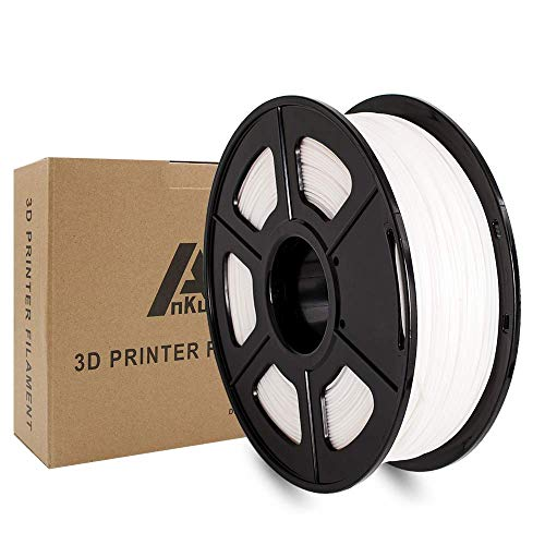 AnKun Pla Filament 1.75mm,White PLA 3D Printing Filament for 3D printer and 3D Pen, Dimensional Accuracy +/- 0.02mm, 1kg 1 Spool