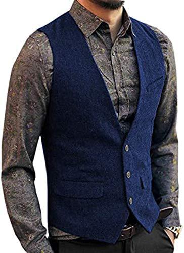 Solove-Suit Chaleco de Traje de Lana de Tweed de Espiga clásico para Hombre Chaleco de Corte Entallado con Cuello en V para Boda Goomsmen (Azul Real, XXL)