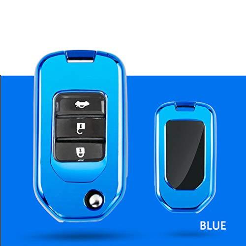 LAMWAN Coperchio Chiave Auto per Custodia Chiave per Auto per Honda Fit XRV VEZEL City Jazz Civic HRV Civic Crider Custodia Portachiavi Pieghevole Custodia per Auto Accessori Auto, Blu Singolo Sh