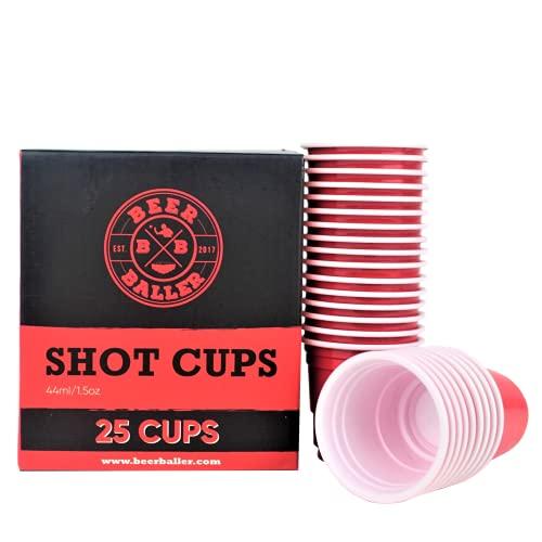 BeerBaller® Shot Red Cups - 25 coupes Shot Pong rouges - Verres à shooter américains rétro originaux en plastique pour votre bar, festival et soirée étudiante