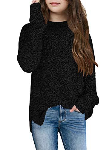 Ybenlover - Jersey para niña con cuello redondo y abertura...