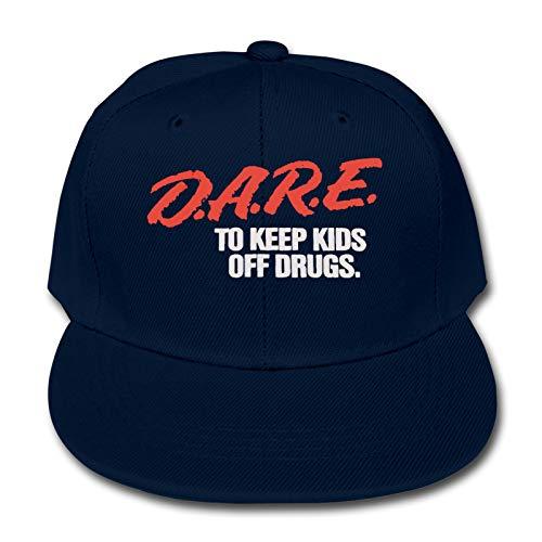 Whhfashion Dare to Keep Kids Off Drugs - Gorra de béisbol para niños y niñas, diseño de hip hop, gorra de senderismo ajustable 6-12T, color negro
