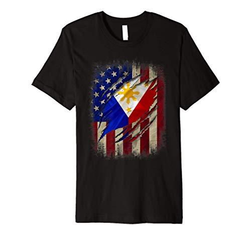 Filipino American Flag Filipino Blood Inside Me Gift Premium T-Shirt