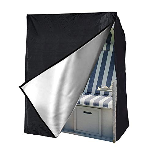 Funda Protectora para Sillas de Mimbre Techadas Cubierta Sillón de Playa de 300D Oxford Impermeable Protección UV Transpirable para Muebles de Jardín Terraza Exterior 135 x 105 x 175/140 cm (Negro)