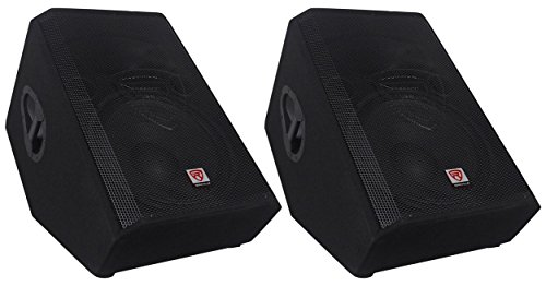 "(2) Rockville RSM15A 15"" 2-Way Powered Active Floor Monitor Speakers 2800 Watts"