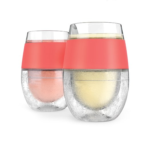 HOST Wine Freeze Cooling Cup, Double Wall Insulated Freezable Drink Chilling Tumbler with Freezing Gel | Glasses for Red and White Wine, Set of 2, 8.5 oz, Coral