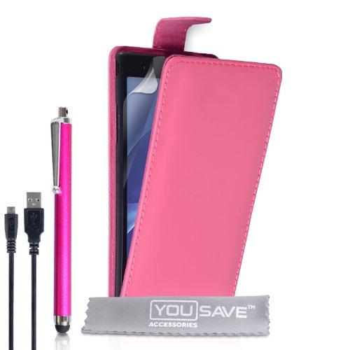 Yousave Accessories® Kompatibel Für Sony Xperia T2 Ultra Tasche Dunkelrosa PU Leder Klapp Hülle Mit Handgriffel Stift Und USB-Kabel