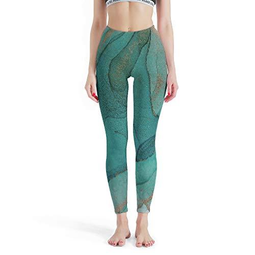 Twelve constellations Polainas deportivas jaspeadas para mujer con impresión elástica en el tobillo, pantalones de yoga, pilates, gimnasia, color blanco XS
