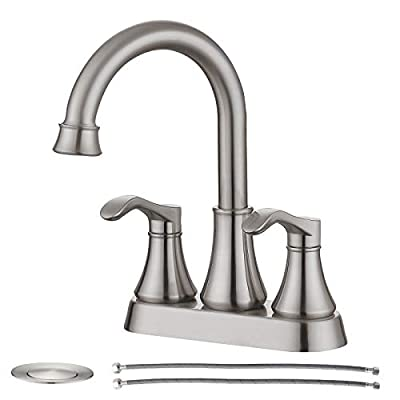 PROOX Bathroom Sink Faucets,4 Inch 2 Handle Bathroom Faucets, 3 Holes Centerset Faucets,Bathroom Vanity Sink Faucets with Pop-up Drain and Cupc Water Hose,Brushed Nickel