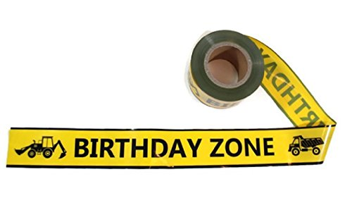 TorxGear Kids Birthday Zone Party Tape! - 300 Foot Roll, 3 Wide, Yellow and Black - Caution, Birthday Tape - Construction Grade Quality