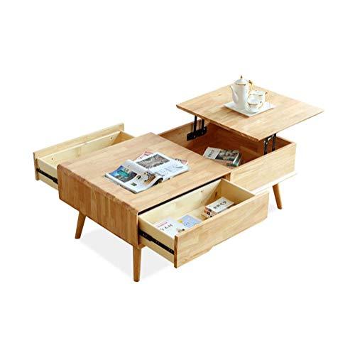 LRXGOODLUKE salontafel van massief hout, verhoogd bureau, eettafel met meerdere functies en 2 lades voor de ontvangstruimte in de woonkamer, 130 x 70 x 49 cm