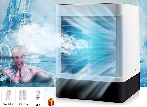 XXL Mobile Klimager?te,USB 3-in-1 tragbarer Mini-Luftkühler, Luftbefeuchter und Luftreiniger mit 3 Geschwindigkeiten und Einer Kapazität von 600 ml (Geschenk: Ersatzfilter)