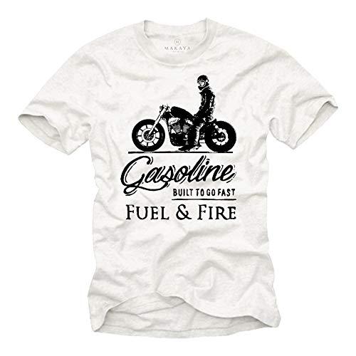 Camiseta Sons of Anarchy - Vintage T-Shirt de Motos - Regalos Originales Hombre Blanco XXXXL