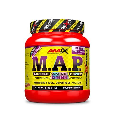 AMIX - Aminoácido en Polvo Muscle Amino Power - Suplemento Alimenticio que Aumenta la Fuerza y la Resistencia Muscular - Sabor Frutas del Bosque - 344 g