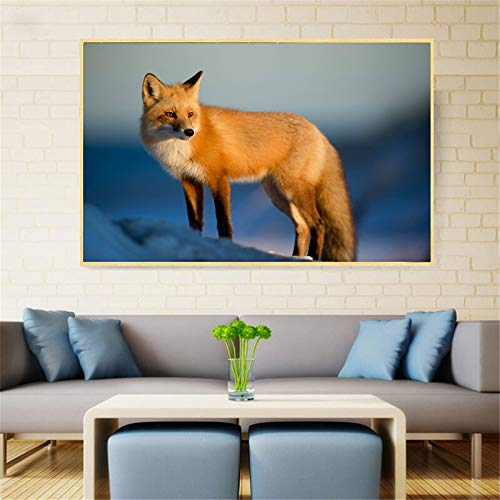 ganlanshu Rahmenlose Malerei Hauptdekoration Tierdruck Fox Moderne Dekoration Malerei Wohnzimmer WandkunstZGQ4710 50X75cm