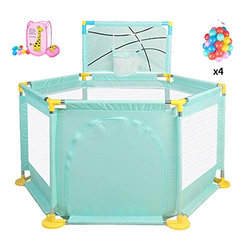 Baby Playpen Large, Portable Safety Kids Playard for Infants - with Mini Basketball Hoop and Ball,Storage Basket,Door - Safety Gate Compact Best Fence for Indoor Outdoor Play Area Baby Gate