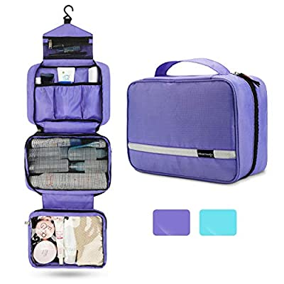 Travel Toiletry Bag for Women, Maxchange Hanging Toiletry Bag with 4 Compartments, Portable and Waterproof Compact travel Bathroom Organizer,Ideal for Travel or Daily Life.(Purple)