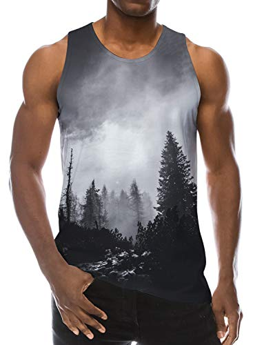 Loveternal Mens Vest Forest T-Shirt 3D Druck Tank Top Casual Sommer Sleeveless Tees L