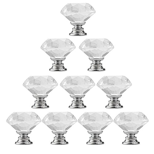 10pcs 30mm Clear Crystal Glass Knob, Marrywindix Drawer Cabinet Pull Handle Knob for Home Kitchen Drawer