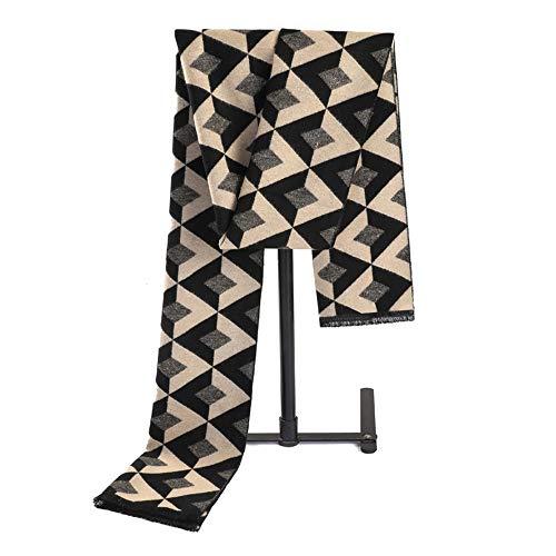 WHSS Bufandas Negro de la Tela Escocesa del otoño y del Invierno de los Hombres de la Cachemira de la Tela Escocesa de imitación de Corea del pañuelo Versión del alumno Salvaje Joven Bufanda Caliente