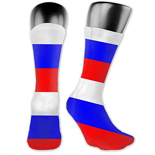 WOWINNER Unisex Adults Teens Casual Russian Flag Crew Socks Novelty Dress Cotton Thick Warm Socks for Work Travel Running Hiking Outdoor