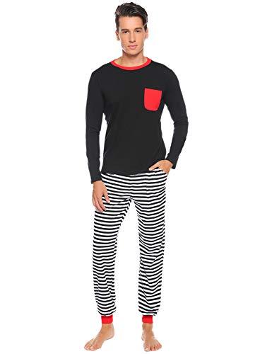 Abollria Schlafanzug Lang Herren 2 Teiler Gestreift Pyjama Set mit Brusttasche Leicht Jersey HausanzugSchwarz,M