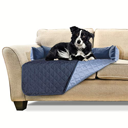 Furhaven Pet Furniture Cover - Sofa Buddy Two-Tone Reversible Water-Resistant Living Room Furniture Cover Protector Pet Bed for Dogs and Cats, Navy and Light Blue, Medium