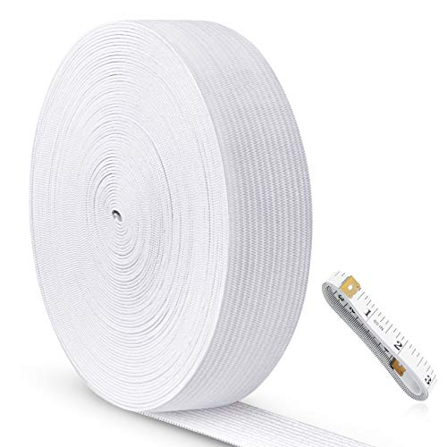 Sewing Elastic Band 1 inch, Knit Elastic Band, Elastic Tape for Sewing, High Elasticity, Comfortable, for Sewing Clothes and Pants Wig Crafts DIY (White, 6 Yard) ZSOUUI
