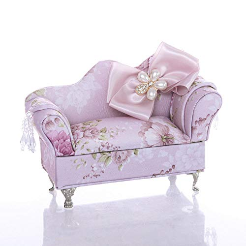 Pink Bowknot Diamond Tela Sofá Joyero Caja De Almacenamiento Princesa-Chaise Longue