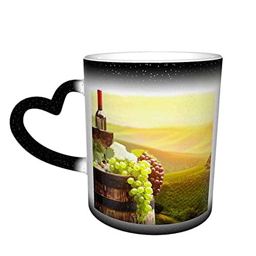 Oaieltj Taza cambiante de calor, vino tinto con barril personalizado sensible al calor taza taza de café taza de té de leche tazas de café mágica tazas de corte