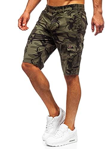 BOLF Hombre Pantalón Corto Cargo Camuflaje Shorts Bermudas Básicos Pantalón de Algodón Deporte Outdoor Ocio Estilo Diario 6713 Verde M [7G7]
