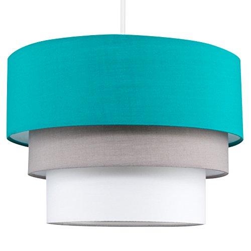 Moderner 3-stufiger Lampenschirm mit mehrfarbigem Finish in türkis, grau und weiß